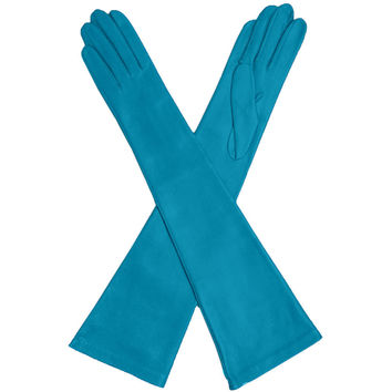 Turquoise Elbow Length Italian Leather Gloves- Silk Lined 12-button