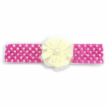 Floral Headband - Pink/Ivory/Pearl