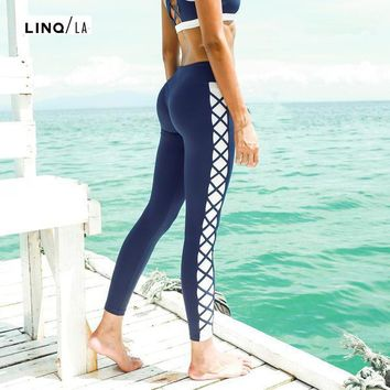 Blue Cross Side Design Yoga Leggings
