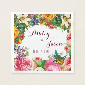 Romantic Watercolor Flowers Wedding Paper Napkin