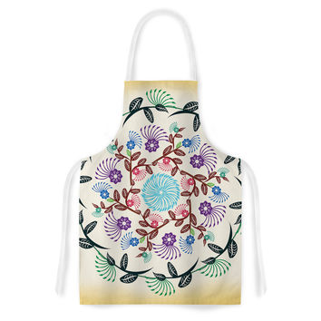 "Famenxt ""Nature Mandala"" Yellow Multicolor Artistic Apron"