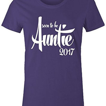 Shirts By Sarah Women's Soon To Be Auntie 2017 Shirt Baby Reveal T-Shirt