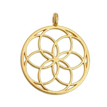 "DoreenBeads Flower of Life Alloy Seed Of Life Pendants Round gold color silver color Hollow 35mm(1 3/8"") x 30mm(1 1/8""), 5 PCs"