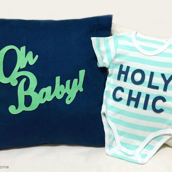 Navy Mint Baby Gift. Oh Baby Navy Nursery Pillow Cover. Holy Chic Mint Stripes Unisex Onesuit. Modern Quirky Typography Baby Shower Gift Set
