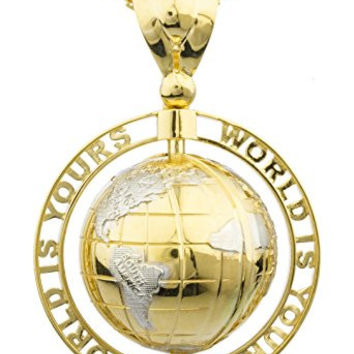 14K Yellow Gold 'World Is Yours' Rotating Globe Pendant with a 2.4mm 24 Inch Round Box Chain Necklace