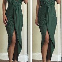 Kimmy High Low Drape Dress - Green - PREORDER