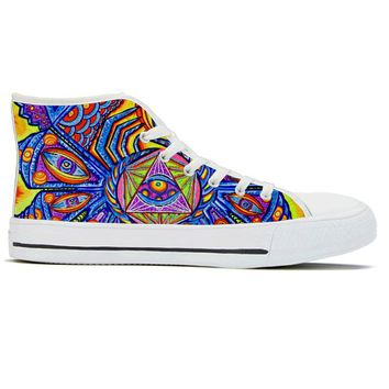 Dragonfly Fractalus by Alex Aliume - High Top Canvas Shoes