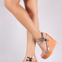 Metallic Lucite Studded Faux Wooden Platform Wedge