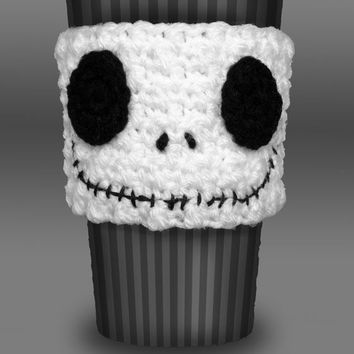 Crocheted Jack Skellington Coffee Cup Cozy