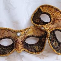 Matching Gold and Brown Paisley Brocade and Leather Masquerade Ball Masks