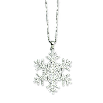 Sterling Silver & CZ Brilliant Embers Snowflake Necklace QMP777