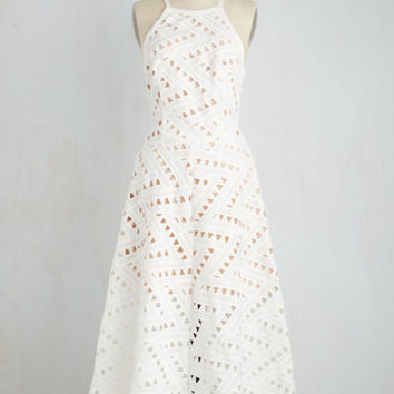 Long Sleeveless A-line Be-All East End-All Dress in White