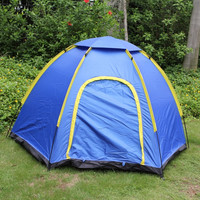 4-Person Hexagonal Camping Folding Tent Blue - Default