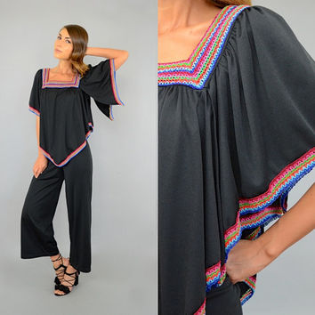 70's Embroidered DISCO Jumpsuit W/ Cape