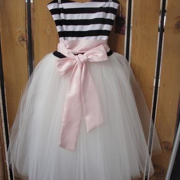 Striped Sweetheart Tulle Party Dress - Just Because I love You