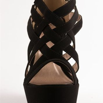 Criss Cross Wedge Sandals - Black from Sandals at Lucky 21 Lucky 21