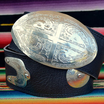 70's Moroccan Etched Silver and Leather Gypsy Belt