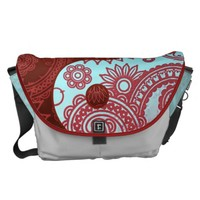 Patterned Yin Yang Red and Blue Messenger Bag