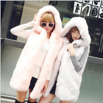 New 2018 Winter Women's Faux Fur Coat Artificial Fur Vest Furry Vests Femme Jackets Oversize  Warm Fake Fur Gilet Z30