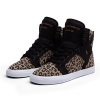 SUPRA WMNS SKYTOP Shoe | BLACK / CHEETAH PRINT - WHITE | Official SUPRA Footwear Site