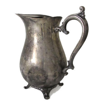 Wm Rogers Silver Plated Claw Foot Water Pitcher with Ice Catcher, International Silver, Silverplate