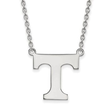 NCAA 14k White Gold U of Tennessee Large 'T' Pendant Necklace