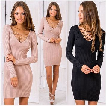 cross lace up V-neck Slim Fit Package Hip BodyconTop Sweater Dress