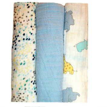 Baby Boys' 100% Cotton Double Gauze Blankets - Baby Zoo Animals and Dots
