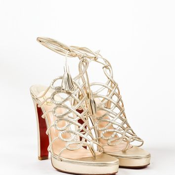 CREYU2C Christian Louboutin Metallic Gold Leather Salsbourg Lace Up Sandals