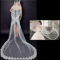 3M Long Lace Edge Cathedral Wedding Gown Bride Veil Bridal Veil White/Beige Tulle Veil = 1930115908