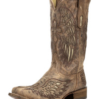 Men's Sand Beige Cowhide Square Toe Boot - A2871