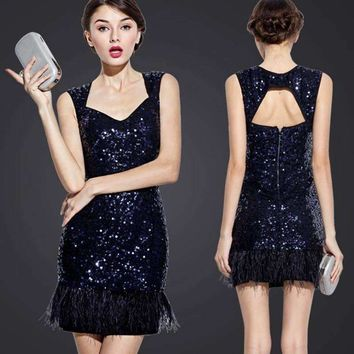 UNIQUEWHO Women Elegant Sequin Mini Dress Sexy Exposed Back Navy Blue Sequined Feather Tank Dress Club Evening Party Dress 2018