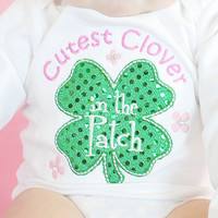 Baby Girls St. Patrick's Day Bodysuit -- Glitzy Shamrock One Piece-Cutest Clover in the Patch Embroiderd Bodysuit
