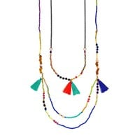 Mudd Bead & Tassel Long Multistrand Necklace (Blue/Black/Gold)