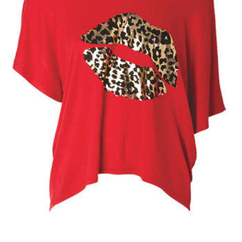 Leopard-Print Lips Dolman at Alloy