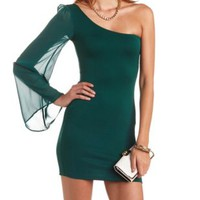 One Shoulder Textured Bodycon Dress by Charlotte Russe - Forest Green