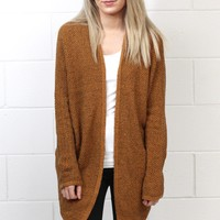 Cozy Marled Knit Sweater Cardigan {Camel}
