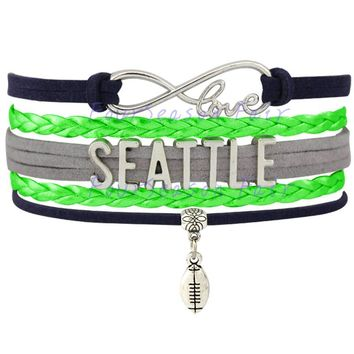 Custom-Infinity Love  Seattle Seahawks Football Charm Wrap Braided Leather Bracelet bangles For Football Fans-Drop Shipping