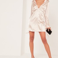 Missguided - Nude 2 piece choker neck plunge satin shift dress