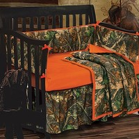 Blaze Orange Camouflage Crib Bedding Set | Cabin Place