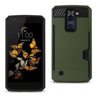 Reiko LG K8 Slim Armor Hybrid Case-Green With Card Holder  Slot (Silicone+Protector Cover)