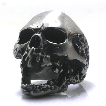 Fashion Heavy Dull Polishing 316L Stainless Steel Punk Death Skull Head Ring Biker Rock Party Best Gift Free Shipping