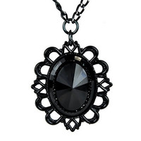 Large Black Stone Necklace with Black Victorian Setting