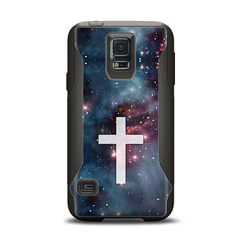 The Vector White Cross v2 over Bright Pink Nebula Space Samsung Galaxy S5 Otterbox Commuter Case Skin Set