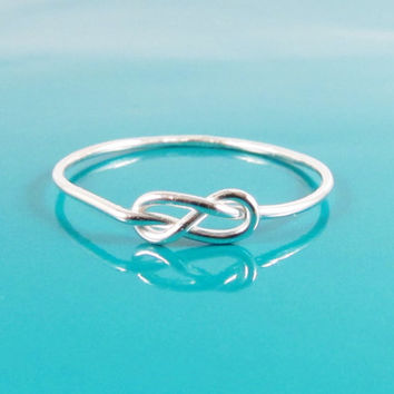Sterling Silver Love Knot Ring, Hug Infinity Ring, Tie the Knot Ring, Bridesmaid Gift, Figure 8 Ring, Celtic Knot Ring, Reef knot Ring