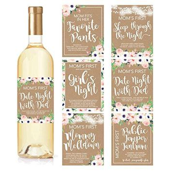 6 Mommys First Milestone Stickers or Wine Labels Great Baby Shower Gift Ideas For Mom To Be Funny Moms First Moments After Having New Baby Girl or Boy 1st Date Night With Dad amp More