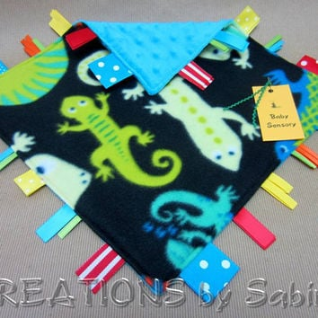 Baby Sensory Tag Blanket Toy, Ribbon Lovie, Blankie, Lizard Lizards Critters Green Blue READY TO SHIP 168