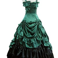 Gothic Lolita Rococo Renaissance Green Bow Long Dress