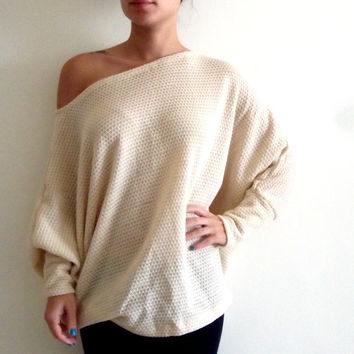 Plus size tunic top/ Oversize knitted top/ Women plus size sweater/ Dolman oversize knitted top with bat sleeves ON SALE