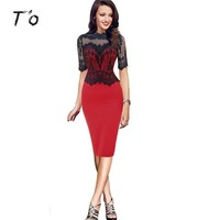 T'O 2017 Women Elegant Pinup Vintage Retro Crochet Lace Half Sleeve Tunic Bodycon Wear to Work Office Party Sheath Dress 430